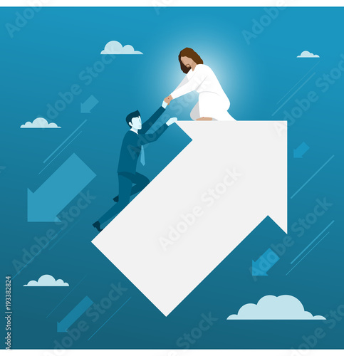 Canvas Print Jesus Helping Businessman From Falling Down, Simple Flat Vector.