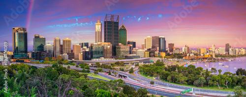 Perth. Panoramic cityscape image of Perth skyline, Australia during dramatic sunset.