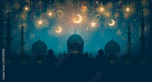 Islam. Magiczna orientalna noc na obrazie wektorowym. Ilustracja wektorowa fantastycznej nocy w orientalnym pałacu ze złotymi gwiazdami.