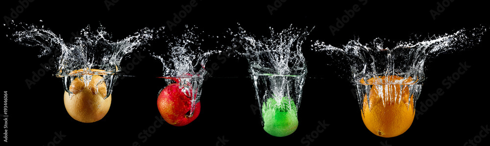 fruit in water splash