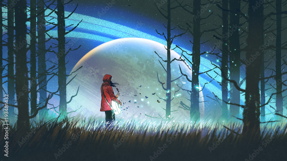 night scenery of young woman playing a magic guitar in the forest against glowing planet on background, digital art style, illustration painting <span>plik: #193481432 | autor: grandfailure</span>
