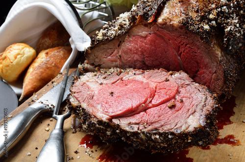 Fotografie, Obraz Close up of rib eye steak with vegetables
