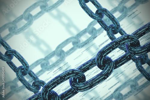 Many chains, a blockchain concept, gray closeup
