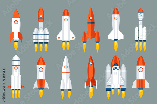Stampa su Tela Space rocket start up launch symbol innovation development technology flat desig