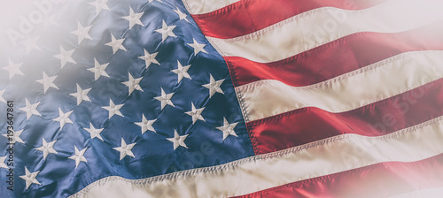Photo USA flag. American flag. American flag blowing in the wind