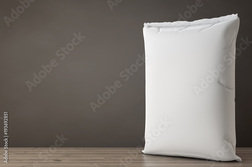 Photo White Blank Paper Sack Cement Bag. 3d Rendering