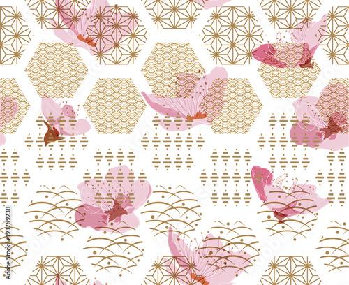 Cherry blossom vector with Japanese pattern seamless Fototapeta