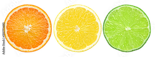 Obraz na plátně citrus slice, orange, lemon, lime, isolated on white background, clipping path