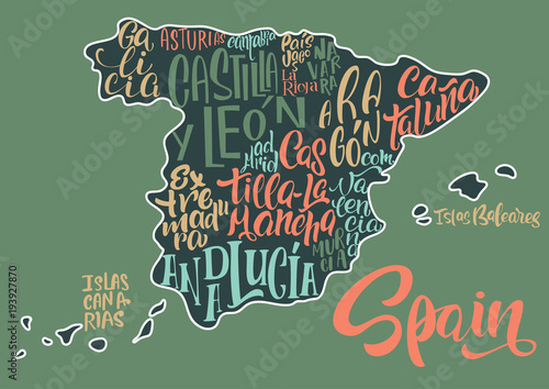 Canvas Print Silhouette of the map of Spain with hand-written names of regions, provinces - Catalonia, Andalusia, Galicia, etc
