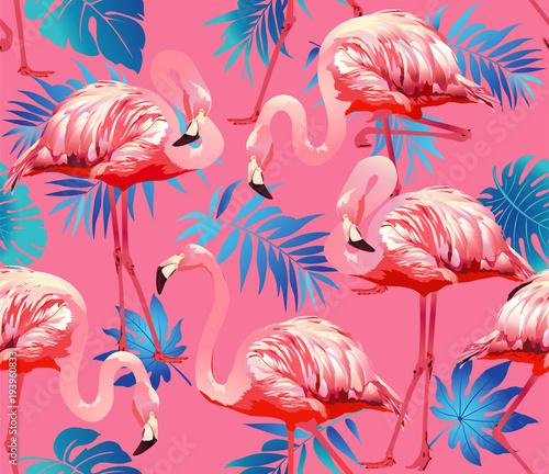 Fototapeta premium Flamingo ptak i tropikalne kwiaty tło - wektor wzór