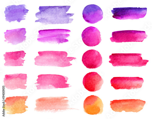 Fototapeta Colorful vector watercolor brush strokes