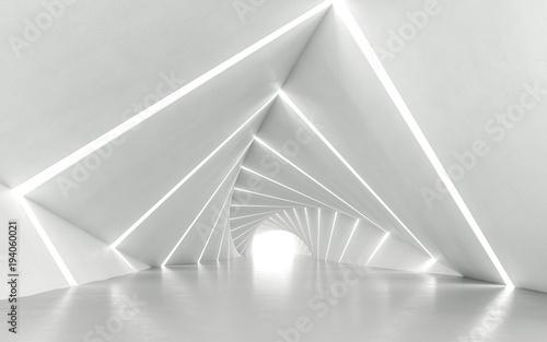Obrazy do salonu Abstrakcjonistyczny biały kręcony korytarz