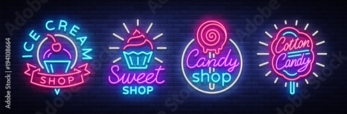Fotografia Sweets Shop is collection logos of neon style