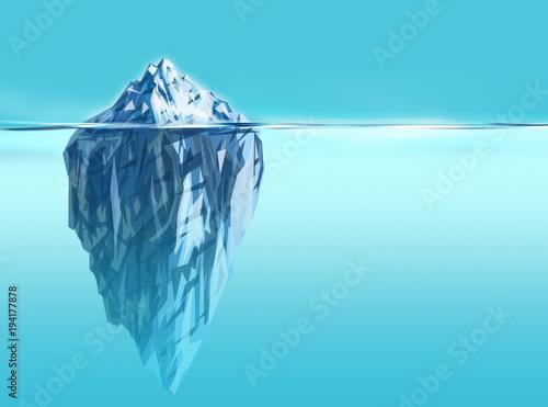 Synergy- iceberg background with deep blue ocean Fototapet