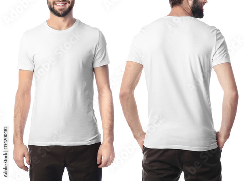 Front and back views of young man in stylish t-shirt on white background. Mockup for design