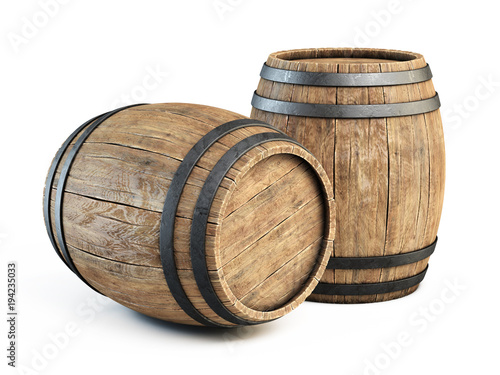 Foto Two wooden barrels isolated on white background 3d illustration