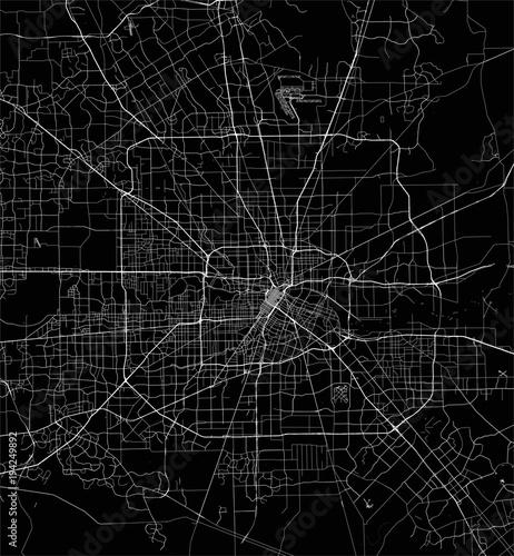Obraz na plátně vector map of the city of Houston, U.S. state of Texas, USA