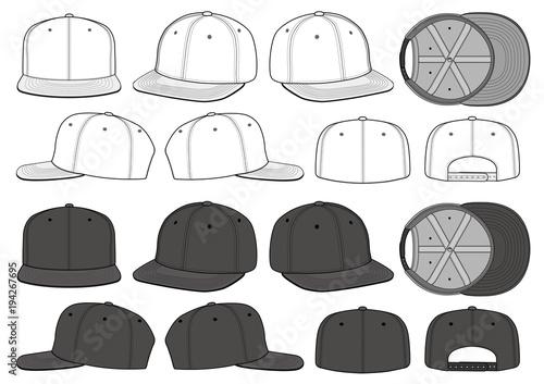 Fotografie, Obraz SNAPBACK CAP fashion flat technical drawing template