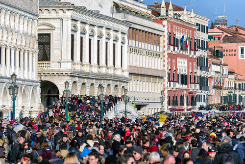 Overcrowded Venice during carnival 2018, Italy