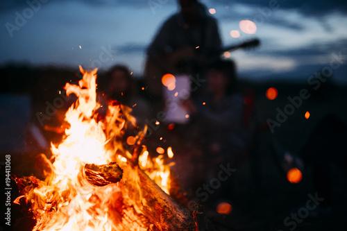 Foto Spark Flying from beach bonfire in summer