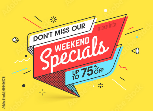 Weekend specials, sale banner template in flat trendy memphis geometric style, retro 80s - 90s paper style poster, placard, web banner designs