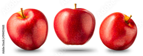 Canvastavla Collection of red apple isolated on white background with shiny reflections
