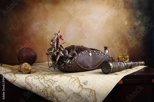 Obraz na płótnie Steampunk pirata mappa del tesoro