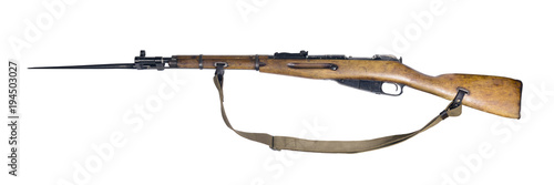 Fotografía vintage military rifle with bayonet in its open position, isolated