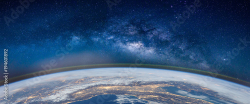 Landscape with Milky way galaxy. Earth and Aurora view from space with Milky way galaxy. (Elements of this image furnished by NASA)