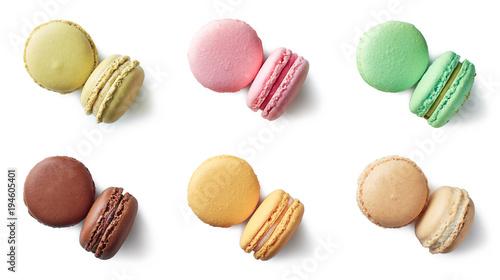 Obraz na plátně Colorful french macarons on white background