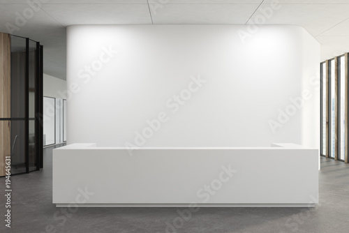 Photo White reception in a white office lobby