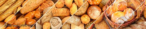 Fotografia Panoramic set of fresh bread products.