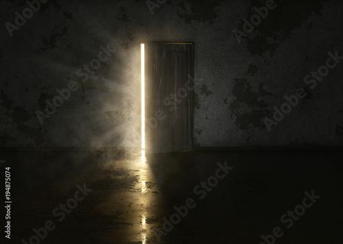 Naklejka na szafę Tajemnicze drzwi w ciemnym pokoju