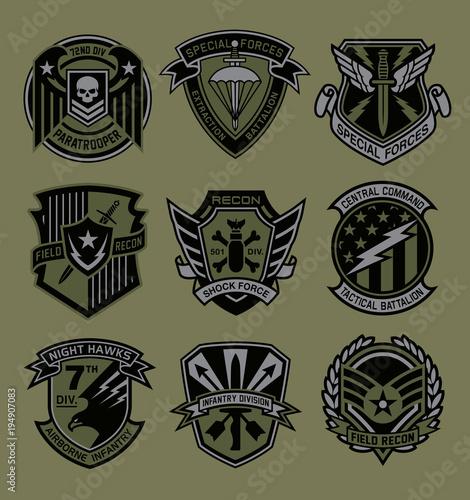 Fototapeta Military patch emblem badges