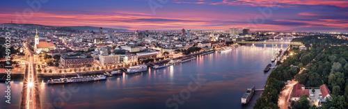 Canvas Print Aerial panorama of Bratislava, new bridge over Danube river with evening lights