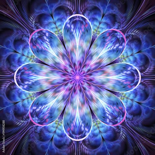 Αφίσα Abstract exotic blue and violet flower