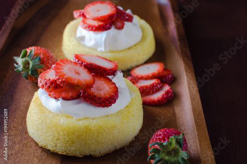 Fényképezés Closeup strawberry shortcake