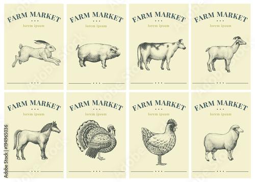 Fotografia Labels with farm animals
