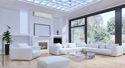 Slika na platnu Modern interior with air conditioning 3D rendering illustration