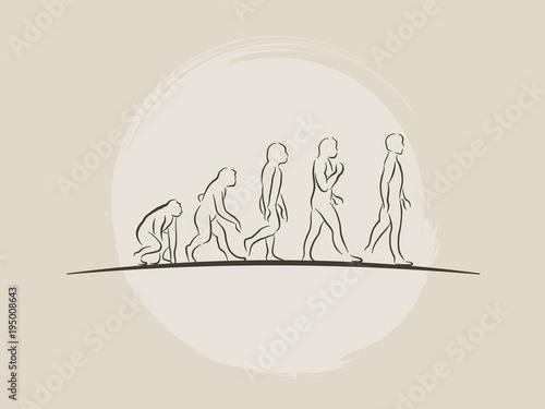 Fotografía Theory of evolution of man - Human development - Hand drawn sketch vector illust