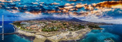 Canvas Print Aerial panoramic view of Las Americas Beach in Tenerife, Spain