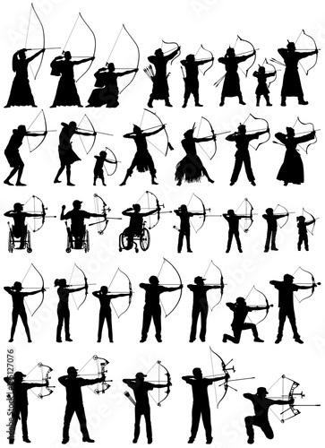 Canvas Print Modern and antique archers of the world, archery vector silhouettes collection