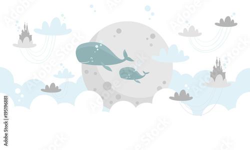 Graficzna ilustracja dla dzieci. Niebo wraz z wielorybami  i księżycem