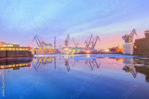 Shipyard at Dusk Fototapeta