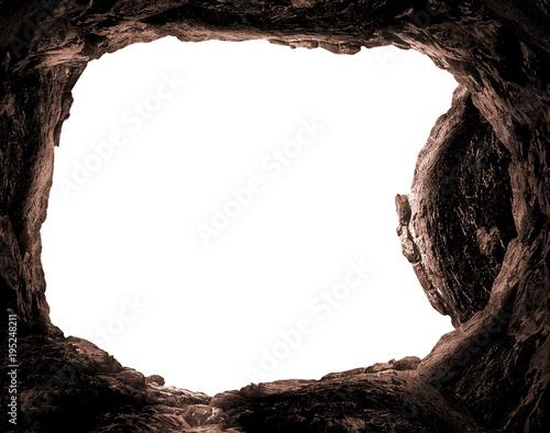 Resurrection concept: Empty tomb stone isolated on white background Fototapeta