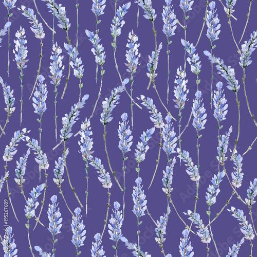 Fototapeta Watercolor realistic illustration. Floral seamless pattern. Prov