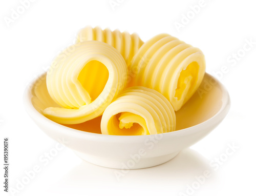 Butter curls isolated on white background