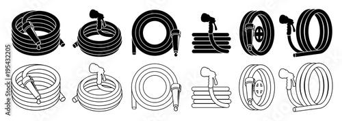 Obraz na płótnie Garden hose or fire hose set, isolated on white vector icon.