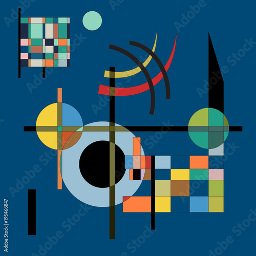 Digital fake painting. Abstract geometric colorful vector background