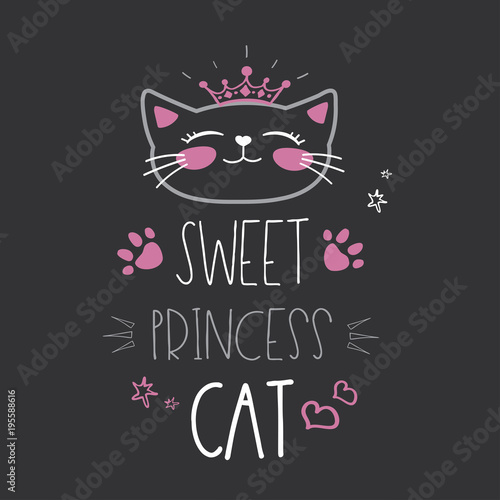 Śliczny kot głowa z koroną i literowaniem - słodki princess kot